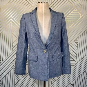 J. Crew Chambray Regent Blazer with Ruffle Trim